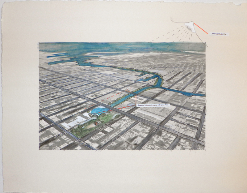 "Rebecca Hackemann, ""The Idea of the Gowanus Extension,"" 2012, drawing, archival ink on archival paper, 11.5"" x 15.5"""